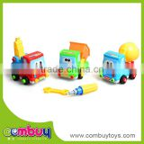 Most popular cartoon kids plastic education toy diy assembly car toys