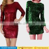 2017 sexy round neck long sleeve slim bodycon shinny bling winter party night prom sequin mini dresses for women lady