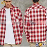 Ecoach latest design slim fit 100%cotton longline wholesale plaid men's casual flannel shirt