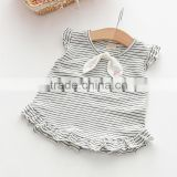 2017 New Design Shirts Casual Kids Children's Striped Wood Earrings Short Sleeve Bottles Shirt Little Girl Vest