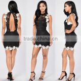 Runwaylover oem service ladies hot sale lace hollow out backless black dress