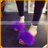 Women Summer Flip Flop Turkey Feather Fur Beach Slipper