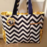 navy chevron with yellow diaper bag from China factory