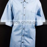 blue dinem jeans shirt with patch pocket mens short sleeve workwear shirt