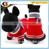 2016 Made in China hot sale winter cloth pet red and white knitted pet cloth lovely dogs cloth with bowknot