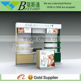 Custom made floor standing wall display shelf for cosmetic shop furniture