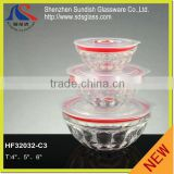 2015 Hith quality hot sell Glass Bowl sets with lids pessed the test FOOD SAFE GLASS BOWL HF32032-C3
