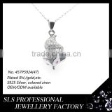 Hot sale new styles hiphop cz iced out Lazy Fox pendant 925 sterling silver necklace pendant findings wholesale