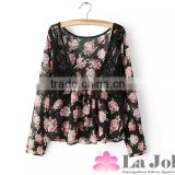 Hot Sale Lace Stitching Chiffon Rose Flower Printting Bulk Deep V-Neck Blouse Lady For Summer