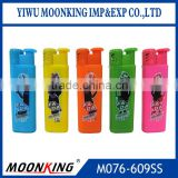Five solid color jet flame plastic rechargeable electric cigarette butane gas customized logo lighter