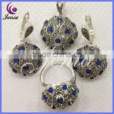 Unique design round earring ,ring ,pendant jewelry set thai silver blue zircon high end fashion jewelry ( 0694T18)