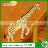 3D giraffe wall coat natural fiber wall covering fireproof wallpaper