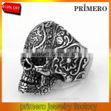 Fashion Flower Skull Gothic Black Poker Party Rock Biker Stainless Steel Terminator Ring