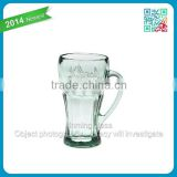 2014 newest 15oz engraved logo cocacola glass crystal tumbler glassware cocacola glass drinking tableware glass with handle