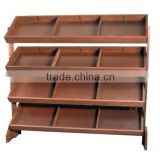 cheap good quality retail wooden display stand with whicker baskets