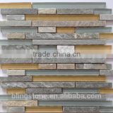 golden white qtz interlocking pattern glass mosaic tile and stone mosaic (crystal glass)