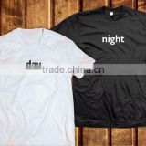 black white day and night shirt printing costemer word cotton short sleeve lovely t shirt