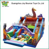themed inflatable slide with castle,animals inflatable castle ,jungle inflatable amusement park