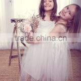 Lovely Ivory Bateau V-Back Applique Band Layered Tulle Floor Length Princess Wedding Flower Girl Dress XYY-008