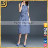 Clothes manufacturer fashion women designs blue linen plain V neck casual shirt dress                                                                         Quality Choice
