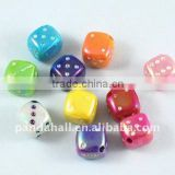 Opaque Acrylic Beads, Dice, AB Color, Multicolor, about 8x8mm, hole: 1.5mm, 1030pcs/500g(ACRP-A306AB)