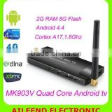 MK903V Quad Core RK3288 TV Stick ,Cortex A17 H.265 Mini PC Android4.4 4K*2K 2G/8G 2.4G/5G WiFi HDMI Rk3288 Android TV Stick                                                                         Quality Choice