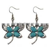 Bohemian Vintage Silver Plated Crystal Butterfly Pendant Turquoise Earrings