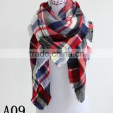 Lady Blanket black red Plaid Checked Oversized Plaid Scarf