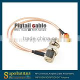tyco wire cable cable assemblies BNC male right angle to SMA female bulkhead o-ring pigtail cable