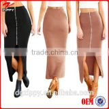 Women Bodycon Pencil Zipper High Waist Latest Long Midi Skirt Design