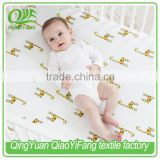 High quality organic cotton bamboo printed muslin baby changing pad cover, cot sheet
