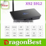 Cheapest android s912 TV Box Pendoo X92 Octa core WITH LED Display antenna for wifi dual band wifi