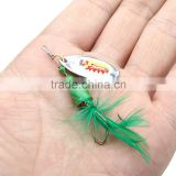 6Pcs 7cm 4g Hard Fishing Lures Spoon Noise Sequin Paillette Baits with Feather Treble Hook Set Tackle