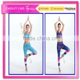 Foreign trade hot style color digital printing half stanza vest of tall waist trousers female suit yoga suit