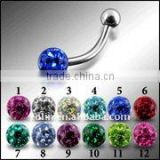SS Eyebrow Banana rings Epoxy Crystal Stone Ball eyebrow rings