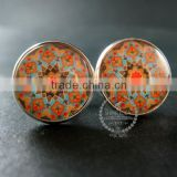 20mm silver plated morocco style flower art collage round glass cabochon fashion cufflinks wedding cuff links gift 6600053