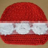 2013 Wholesale baby hat christmas elves newsboy caps with flower red hat christmas baby hat wholesale