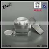 hot products 15g 30g 50g square cosmetic acrylic jar cream plastic jar with silver UV top china suppliers