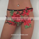 womens bra panty thong garter belt fashion panties embroidered sexy pant underwear harness cage belt panty T-string