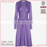 Factory Manufacturer Ladies' Top Fashion Elegant Bandage Purple Long Sleeve Deep V-neck Western Style Dresses