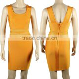 2015 New Fashion Sexy Women's HL Bodycon Mesh Bandage Yellow Dress Night Wear Celebrity Slim Dress