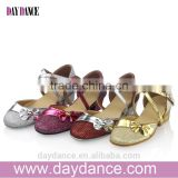 Girls Kid Buckle Strap Ballroom Modern Latin Dance Shoes Child Bowknot Colorful Closed Toe Low Heel Shoes