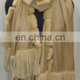 Fashion fur trimmed shawl
