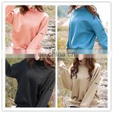 Clothing Women Spring Autumn Ladies Tops Loose Cotton Long Sleeve Batwing High Chimney Collar Velvet Sweatshirt for Women