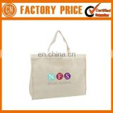 Factory Direct Sale Plain White Cotton Canvas Tote Bag Leather Handle