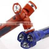 New 3in1 plastic led flashlight with 3 header
