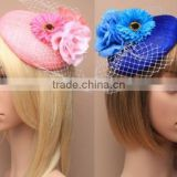 New Style Sinamay Base Fascinator Hat With Fabric Flower For Wedding Hair Accessories