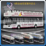 Mini Qute 1:32 kid Die Cast pull back alloy music Double-decker Bus vehicle model car electronic educational toy NO.MQ 8050