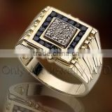 luxury black and white CZ inlaid shiny polished men's 925 sterling silver or brass signet ring