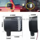 27W Car LED Rearview Side Replacement LED Off road Mirror Turn Signal Lights White /Amber Beam For Jeep Wrangler 07-15